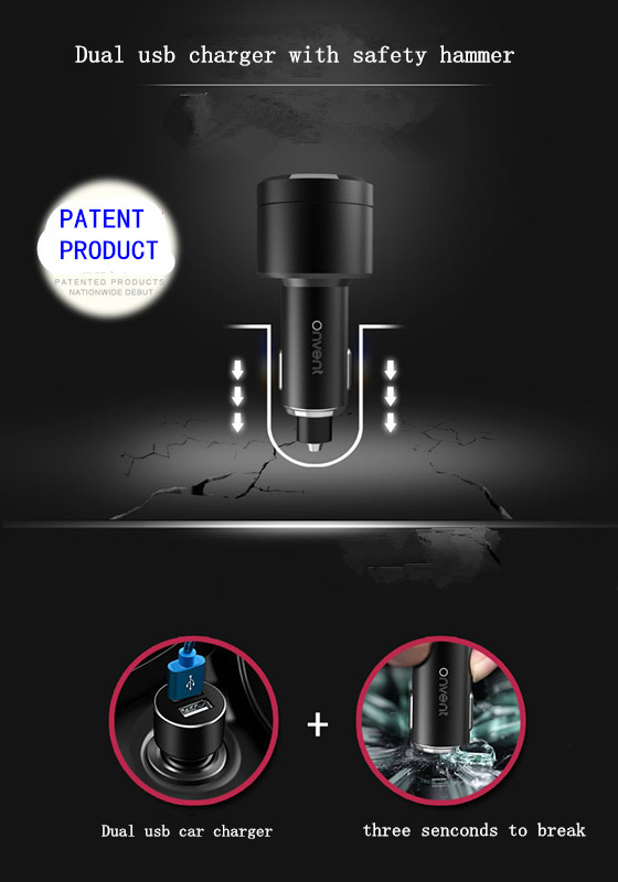 car air  purifier Car safety hammer  New Dual USB car charger