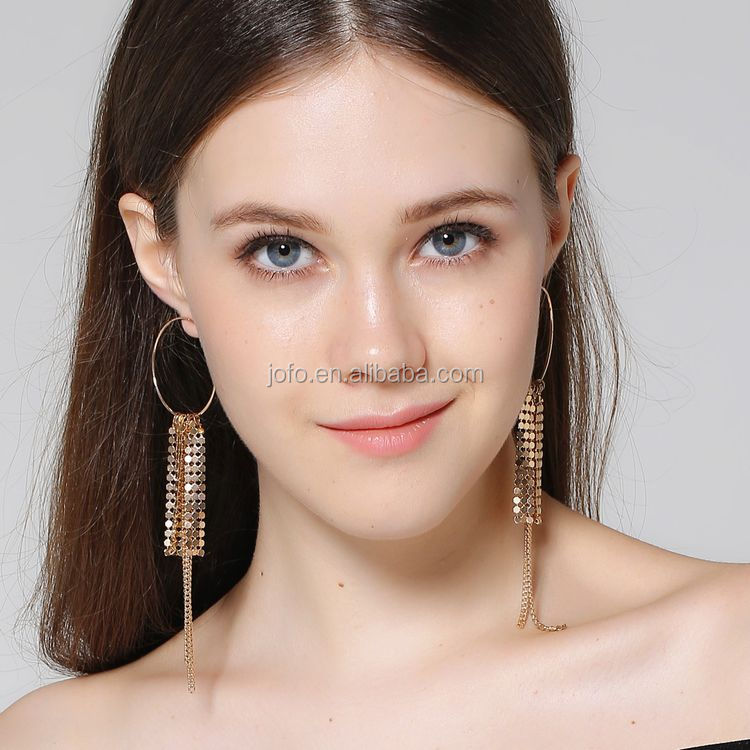 2017 Fashion Simple Design New Model Earrings Gold Plated Jewelry Disc Chain Earrings