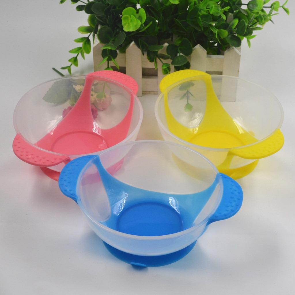 Новый ребенок ложка миска обучения блюда с присоской помочь продовольственной чаша измерения температуры ложка детские посуда