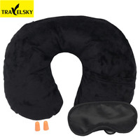 Travelsky Wholesale Travel Comfort kit set inflatable neck pillow eye mask earplug