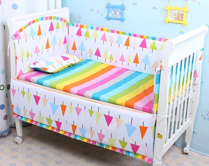 Продвижение! 6 шт. детские постельных принадлежностей чистого хлопка детские кроватки постельное белье, Включают : ( бампер + лист + )