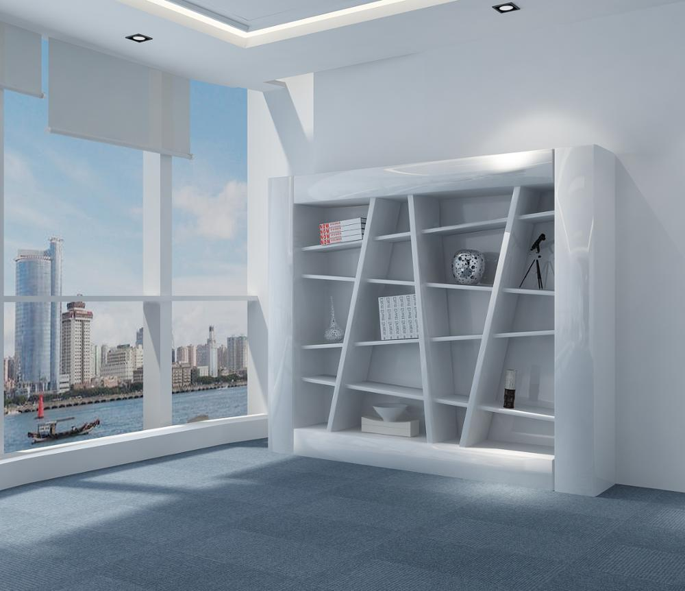 modern living room home furniture high gloss wooden bookcases