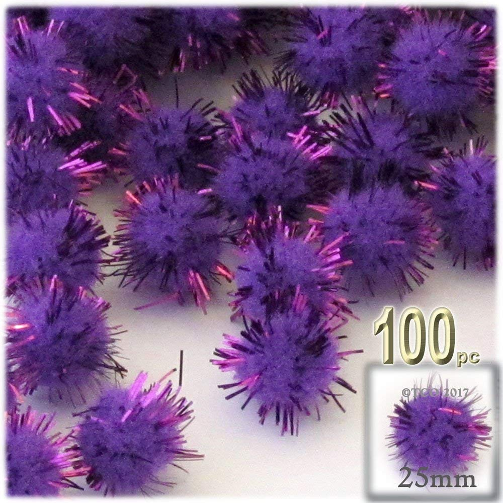 The Crafts Outlet Chenille Sparkly Pom Poms, Purple porcupine, 1.0-inch (25mm-), 100-pc, Purple
