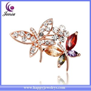Twins butterfly shaped women brooch 18k gold plated beautiful crystal brooch for wedding invitations ( YWZ5837)