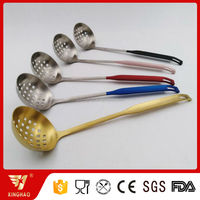 Colorful SS304 Thick Long Handle Kitchen Cooking Soup ladle Skimmer Utensils