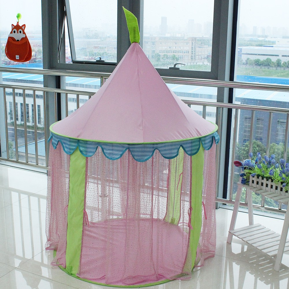 Girl's play pink princess castle tent train play house kids tent