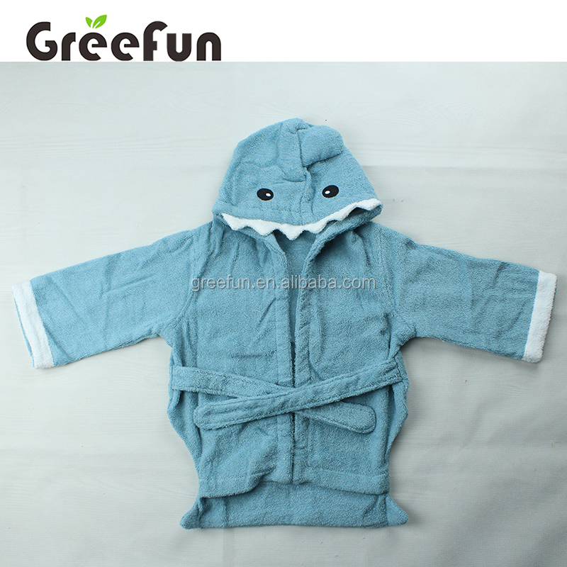 Wholesale Amazon Top Seller Hot Sale Blue Shark Animal Baby Hooded Towel , High Quality Custom 100% Cotton Baby Towel Bath Robe
