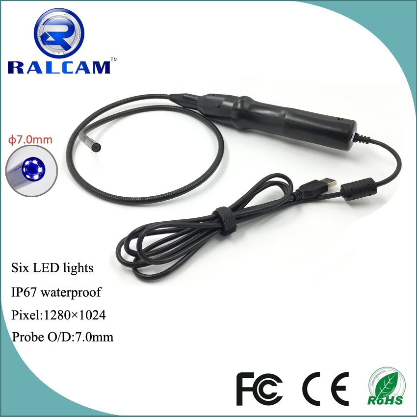 7mm camera 1.3 mega pixels drain pipe inspection usb industrial endoscope
