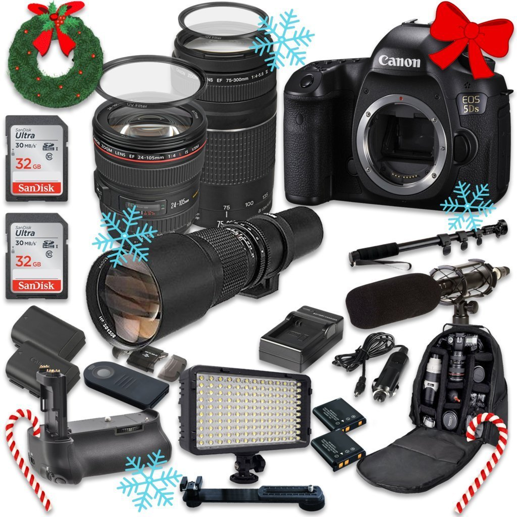 Canon EOS 5DS 50.6MP Full Frame CMOS Digital SLR DSLR Camera w/ EF 24-105mm f/4 L IS USM Lens + EF 75-300mm f/4-5.6 III Telephoto + 500mm f/8 Preset Lens + Holiday Accessory Bundle