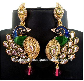 Pea Shape Earrings Kundan Meenakari Long Imitation Jewellery Whole Indian Online Bollywood