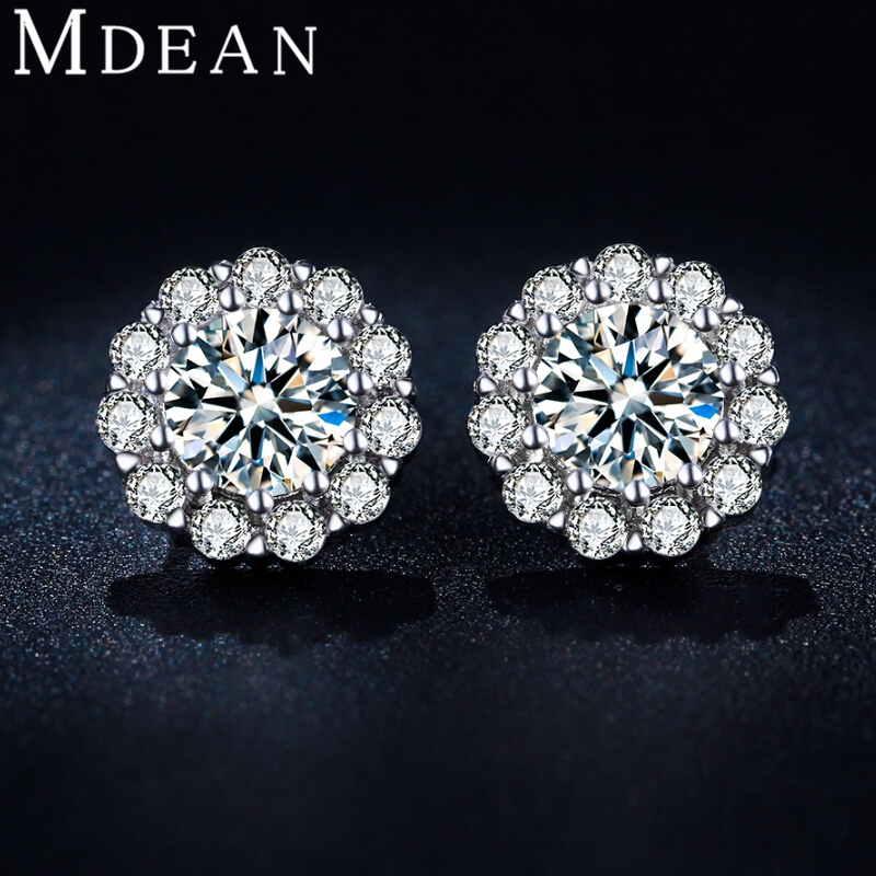 MDEAN White Gold Plated Stud Earrings CZ diamond AAA zircon Engagement <strong>Jewelry</strong> for women MSE041