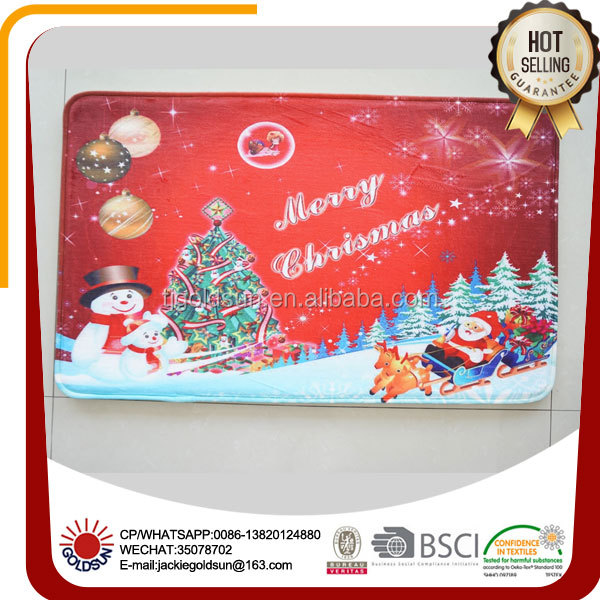 anti slipping washable printed Christmas decorative kitchen floor mats