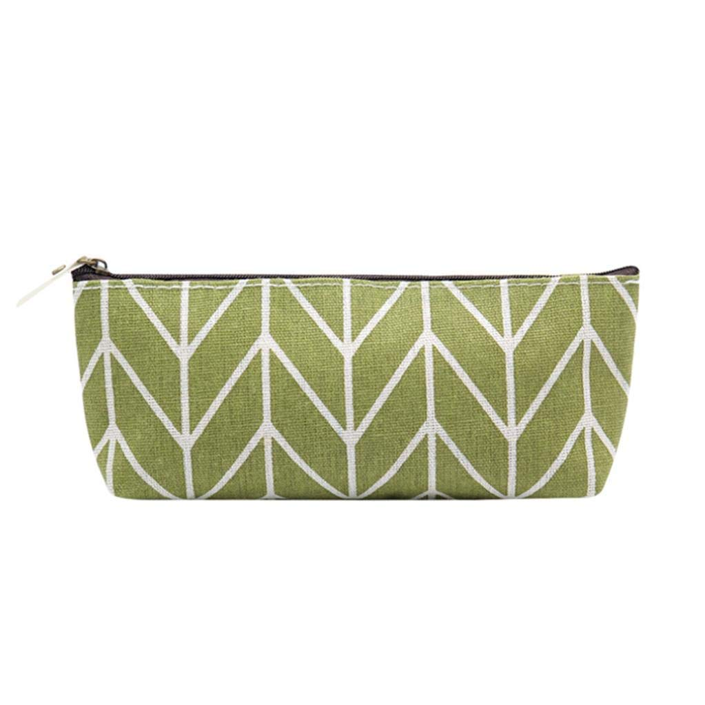 Gbell Zipper Pencil Pouch Canvas Pencil Bags for Kids Girls,Women Cosmetic Makeup & Pen Bag, Storage Pouch Purse Students School Supplies,20.5x8x4 cm, Army Green Gray Green