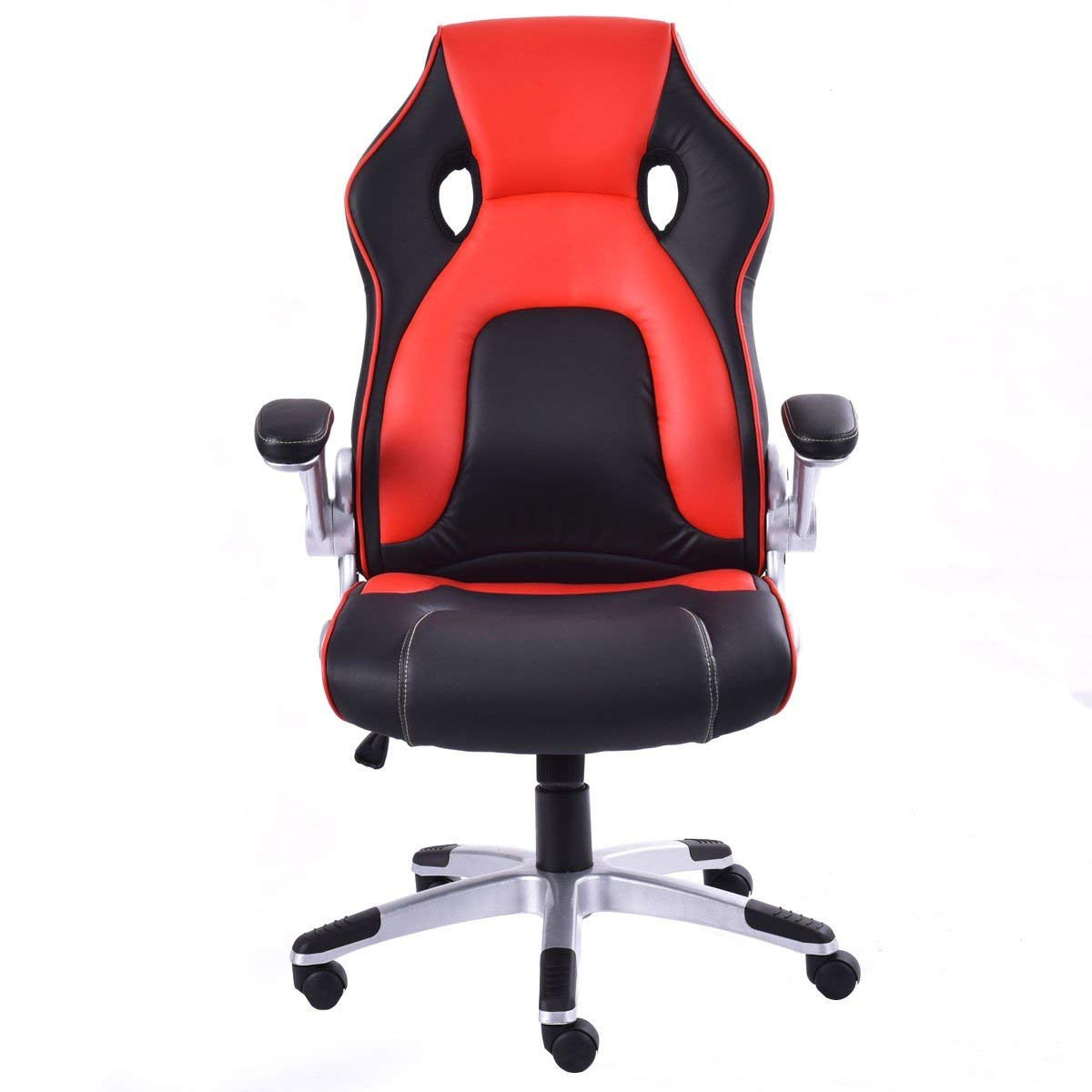 Svitlife Red Executive Racing Style Bucket Seat Gaming Chair High Back Race Work Pu Leather Offcie