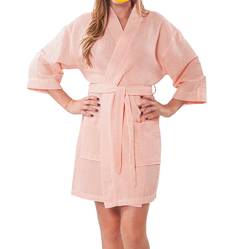 fancy wholesale weave plush orange or color sleeping beach robe set