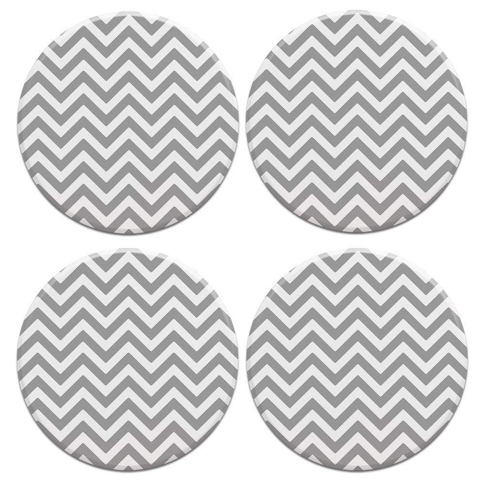 CARIBOU ROUND Ceramic Stone Coasters 4pcs Set, Mug Coffee Cup Place Mat Home Coasters for Hot & Cold Drinks, Gray Mini Chevron