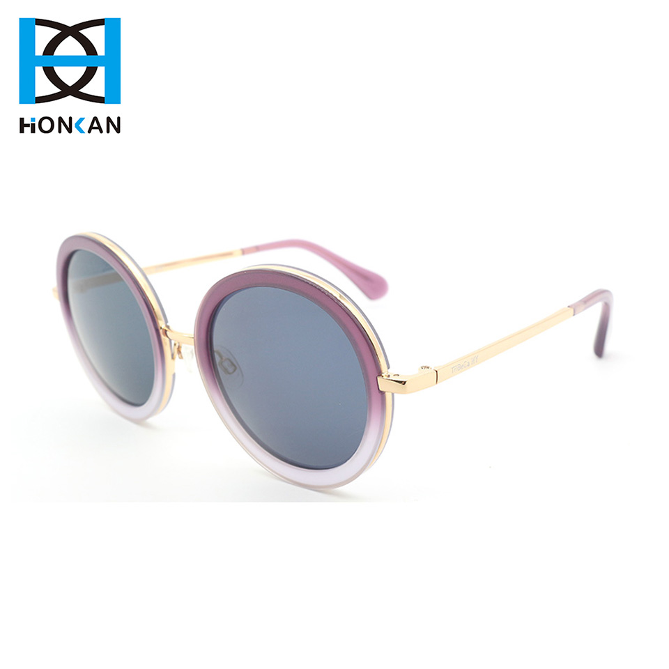Trendy round gradient purple acetate metal sunglasses