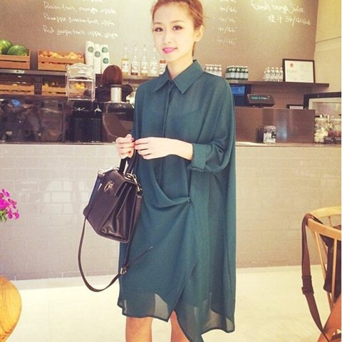 Wholesale Korean style dress Design Ladies Stand Up Collar Casual Loose Blouse