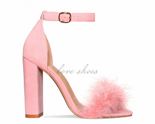 Beautiful Pink Suede Block <strong>Heel</strong> Faux Fur <strong>Heels</strong> Ladies Shoes High <strong>Heels</strong>