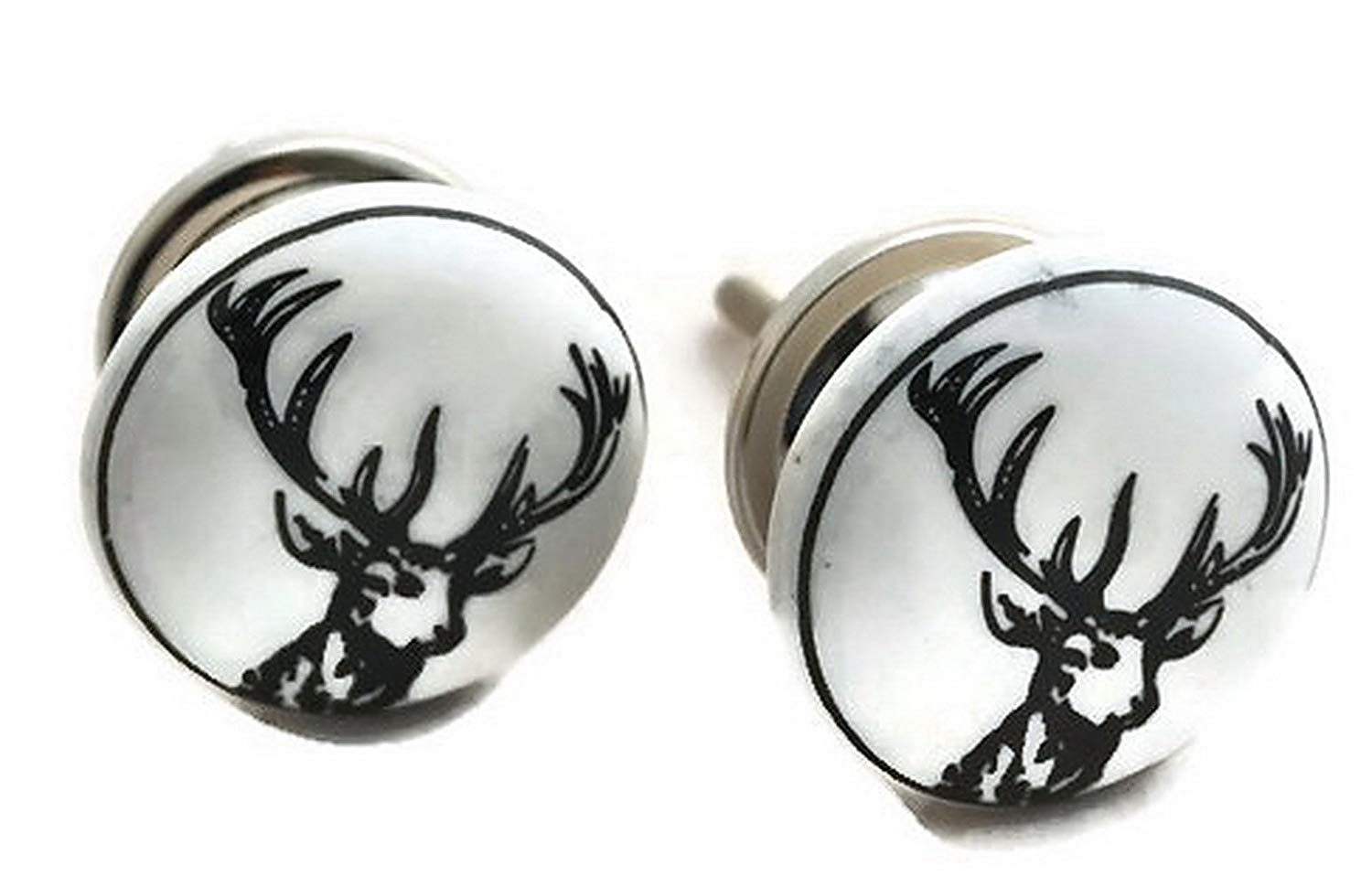 StarZebra Set of 2 - Handmade Hand-painted Ceramic Knobs & Pulls - Decorative Handles for Cabinets/Dressers/Drawers - Home Decor - Reindeer