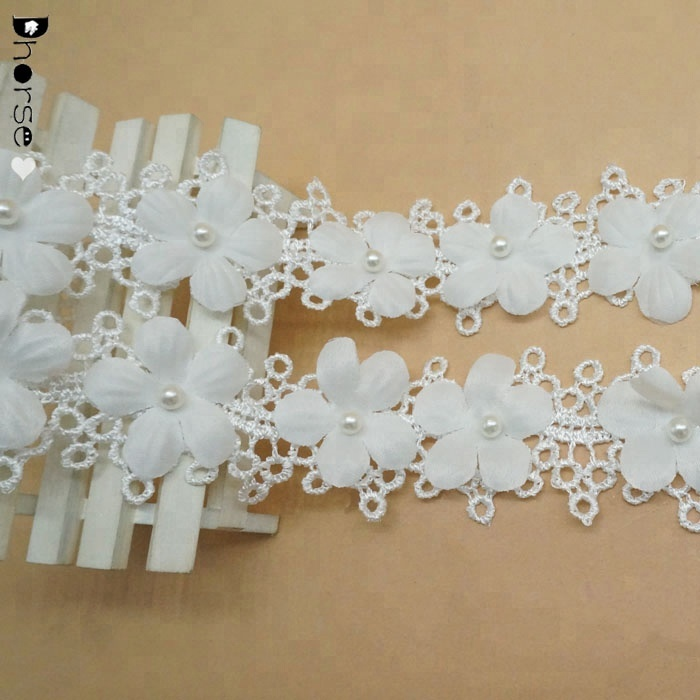 Fashion Embroidery Design 3D organza flower pattern bridal lace trim with pearl DHDT354