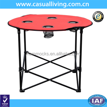 Foldable And Portable Round Table For Picnic, Camping Table 4 Cup Holders  With Carry Bag