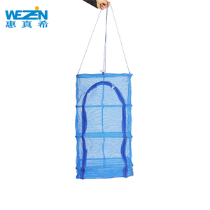 4 Layers Vegetable Fish Dishes Mesh Hanging Drying Net Rack Blue 40 * 40 * 65cm