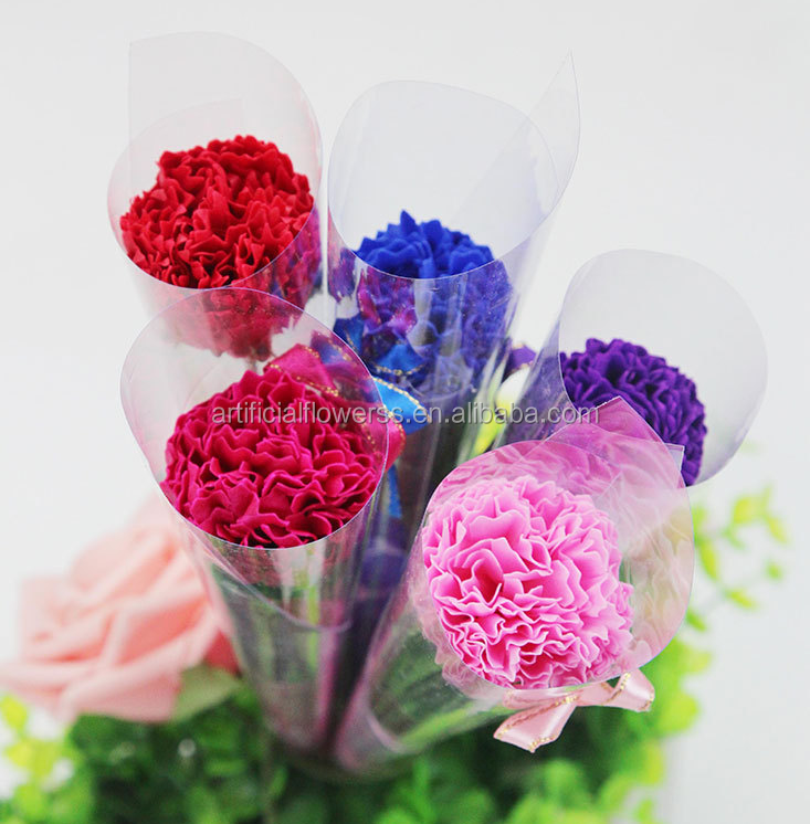 Wholesale soap flower artificial single carnation flower for Mother's Day