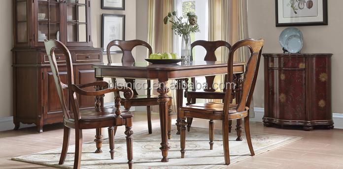Klassieke houten gesneden vierkante eettafel met stoelen for Landelijke eettafel stoelen
