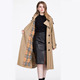 Classic plaid fashion real ladies sheepskin coats Long section trench genuine woman leather jacket