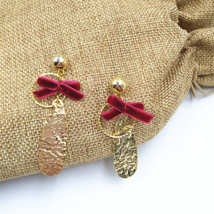 Hot Factory Sell Gold Plated Metal Earring Women New Ribbon bowknot Earring
