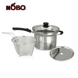 Multifunctional 4-Piece Pasta Steamer Set Stainless Steel Spaghetti Pot with Strainer Insert