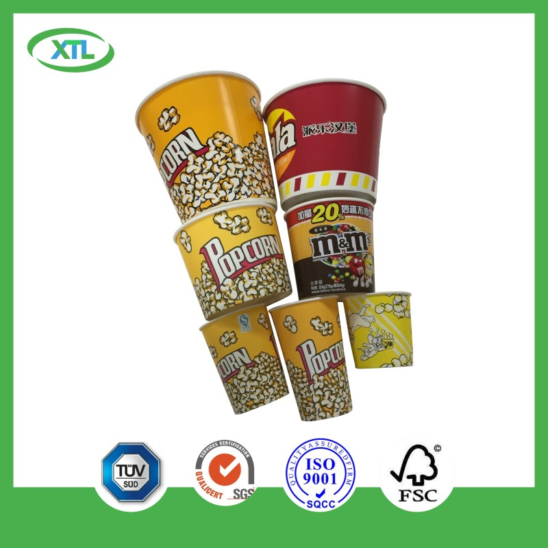 disposable 46oz popcorn bucket waxed paper manufacture