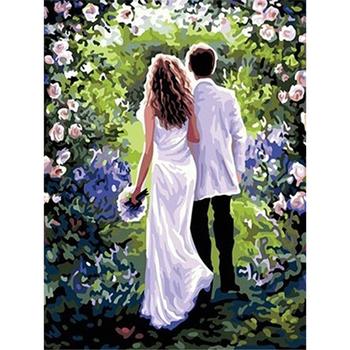 Romantis Cinta Dari Dua Pasangan Dalam Halaman Lukisan Cat Dengan