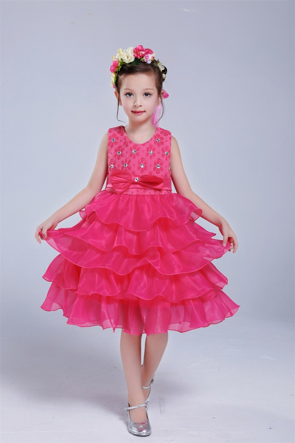 2018 Girls Formal Dress Kids Ruffles Lace Party Wedding Party ...