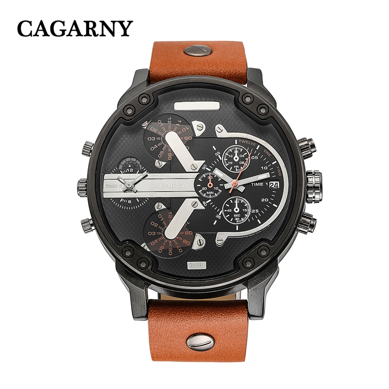 Movimento japão mens leather watch band 2018 Popular Big Dial mens relógios top marca de luxo relógio cronógrafo HOMENS CAGARNY