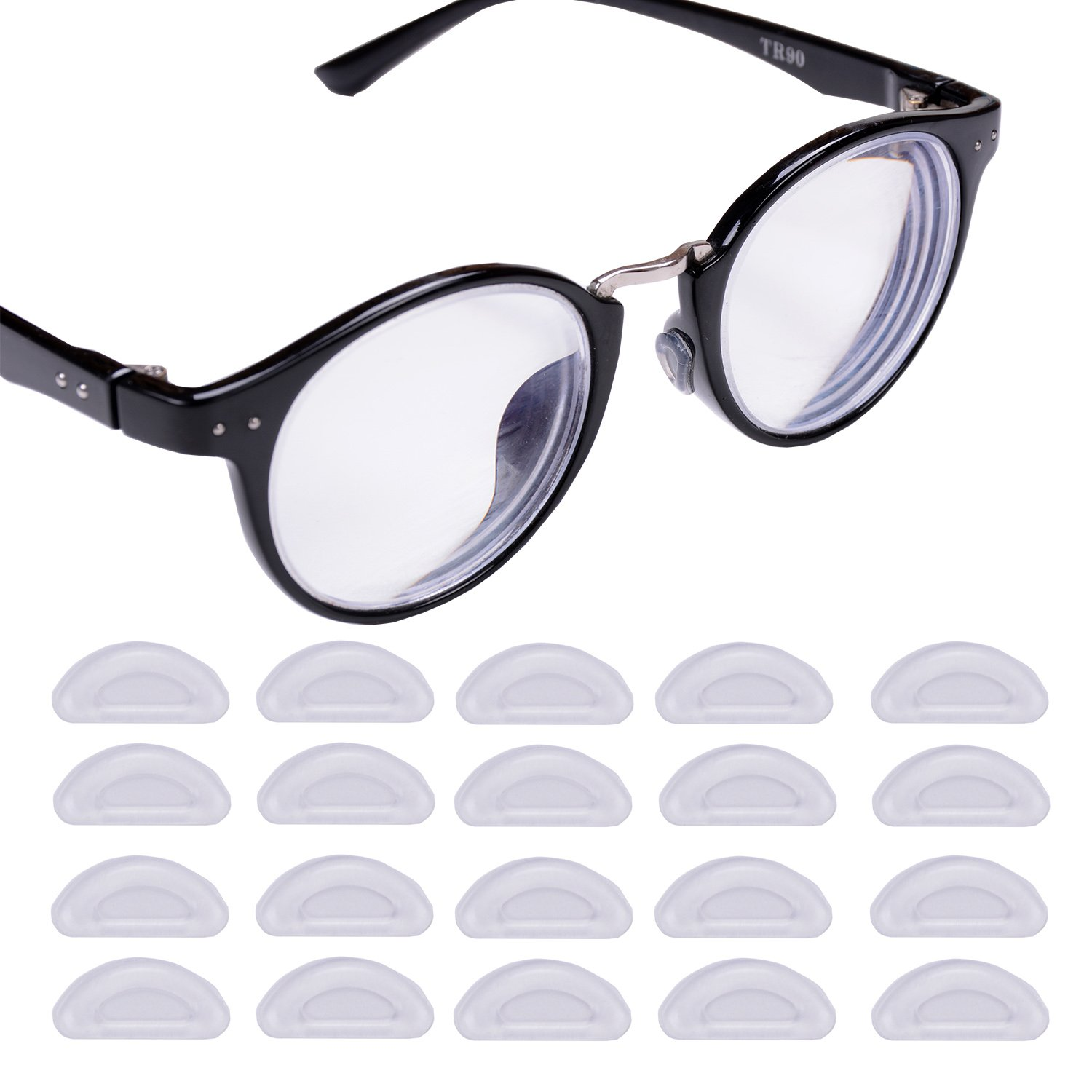 eMingo 10 Pairs Anti-Slip Small Nose Pads Adhesive Silicone Pads for Eyeglass Sunglasses Spectacles ,1.5mm (Clear)