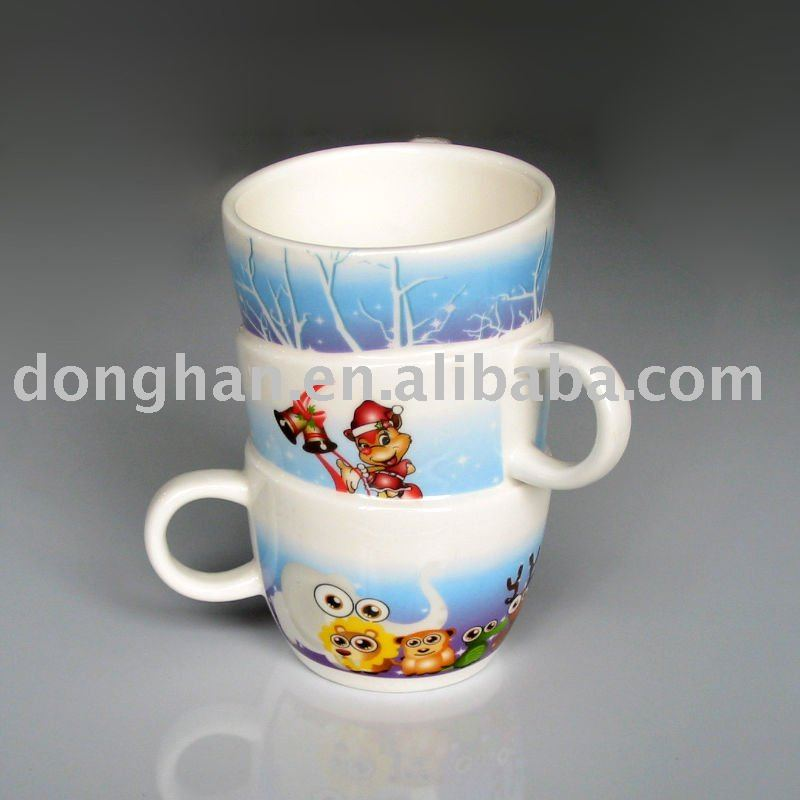 china manufacturer ceramic 3 handle mug promotion