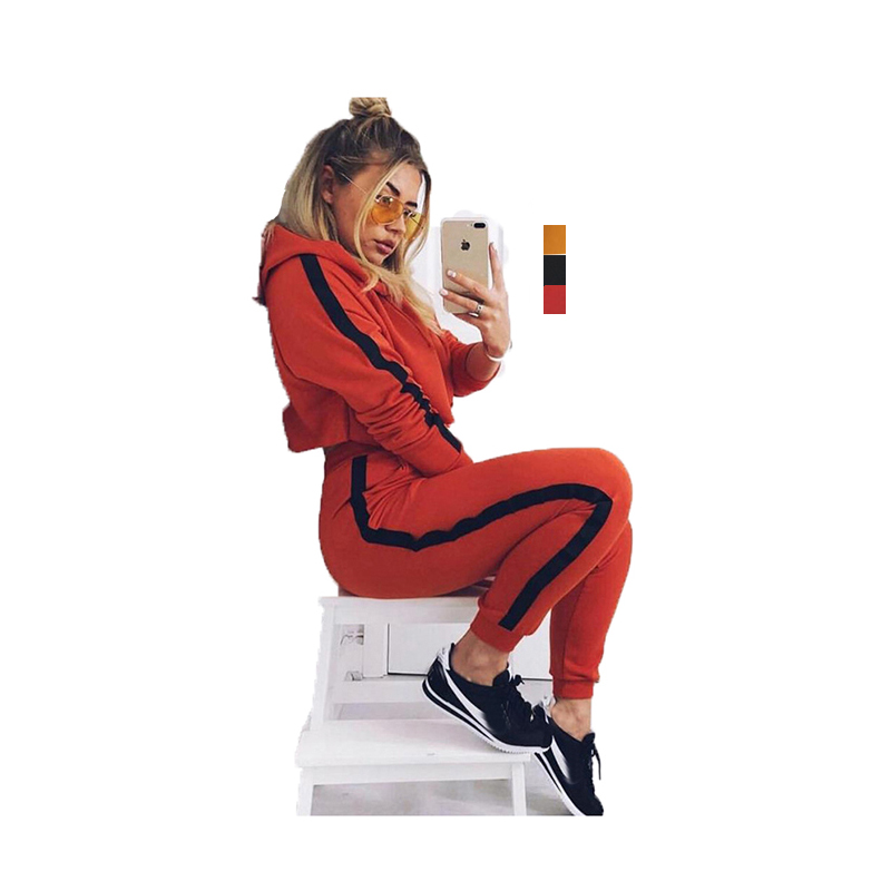 2018 fitness four seasons women sexy hoodies crop top hoodie with pant, Black;yellow;orange