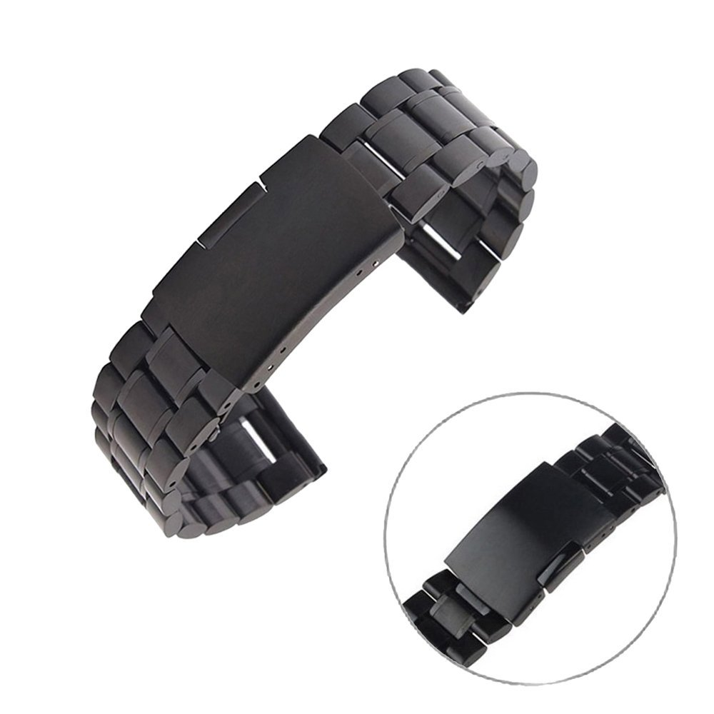 Gear S3 Classic / Frontier Watch Band , EXMART Stainless Steel Watch Band Strap Bracelet for Samsung Galaxy Gear S3 Classic / Frontier Smart Watch (Solid Black)