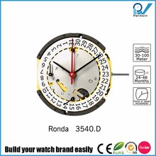 Ronda Movement 3540.D Multifunction Chronograph Watches 30 minute counter 3 eyes Long battery life 54 months 5 jewels gold plate
