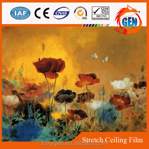 Oil painting lobby false printing PVC stretch ceiling system 2.35 meters to 3.2 meters width for hotel