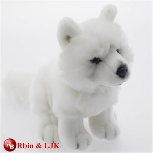 customized OEM design white wolf plush