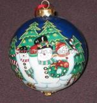 Wholesale new design and high quality Hand Painted Indoor Christmas Ornament Glass Hanging Ball