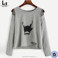 Brand factory online shopping grey gesture distressed t shirt printing