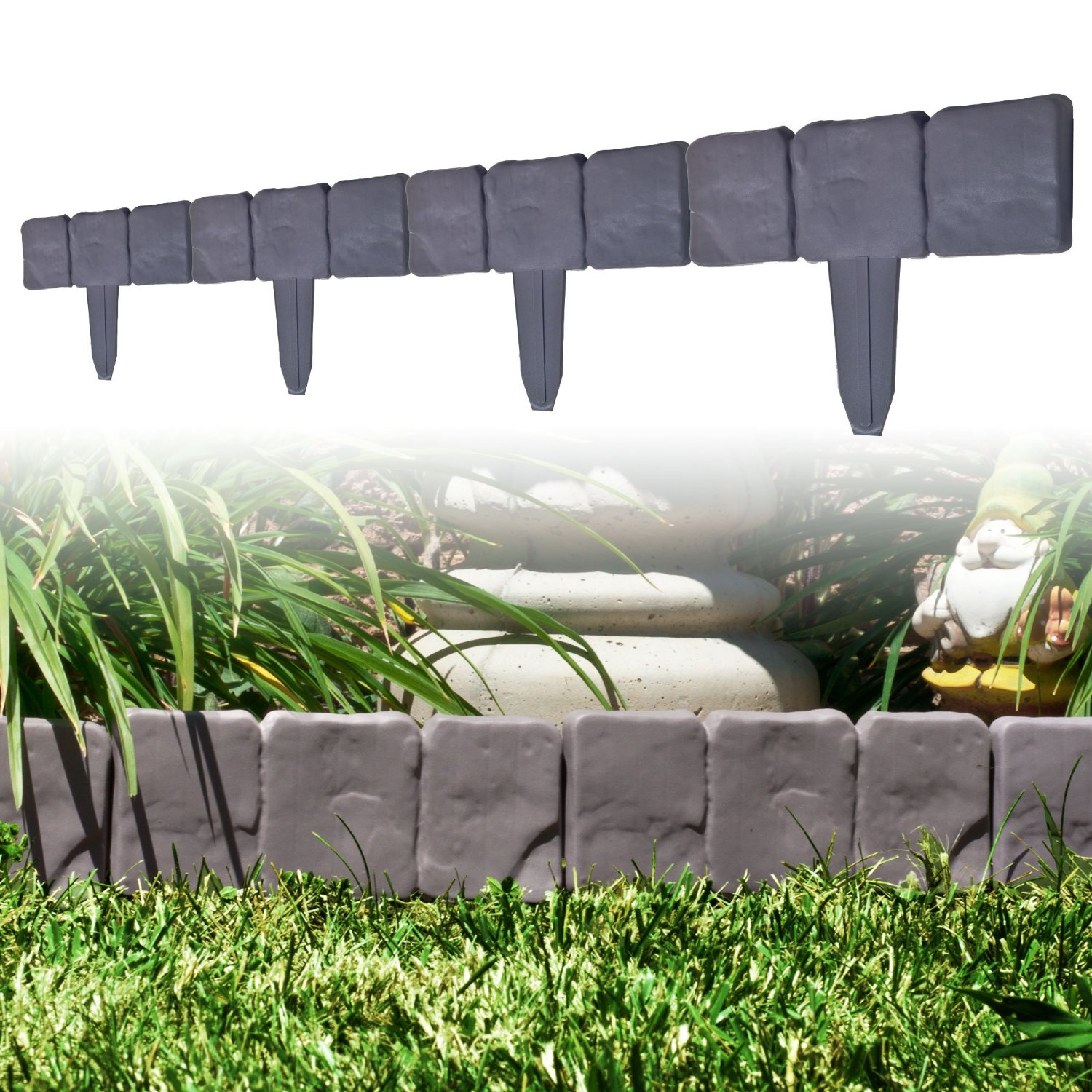 Garden Edging Border Decorative Flower Bed For Landscaping Stone Trim 10 Piece