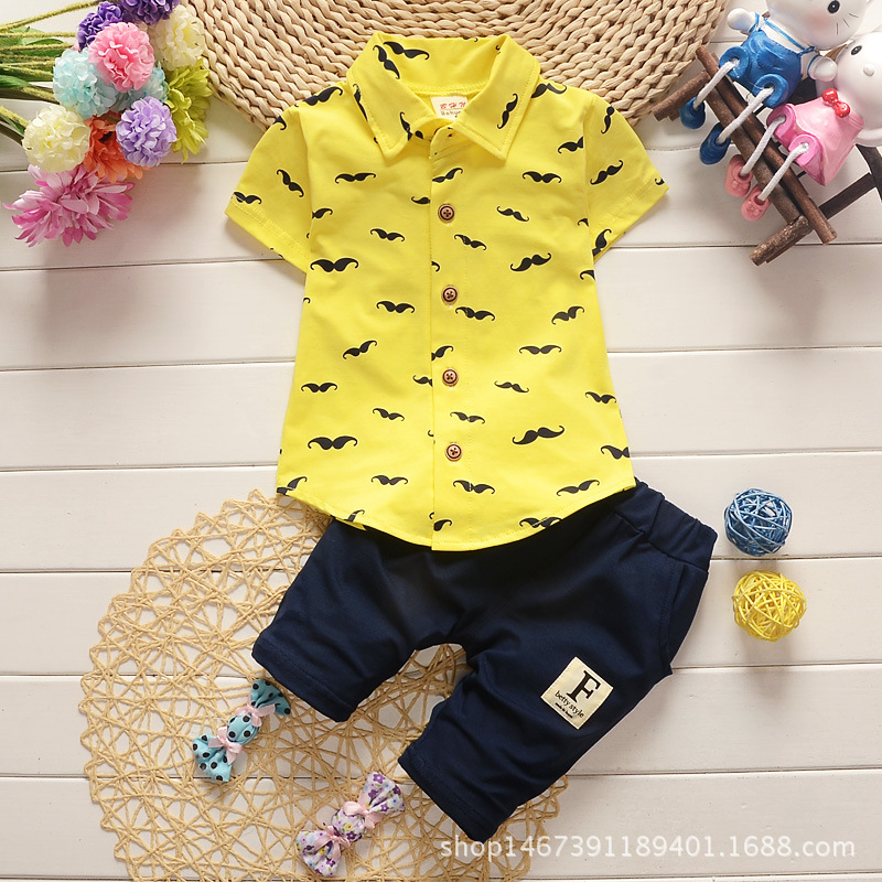 Summer new boys' suit children's beard T-shirt cotton trousers two-piece suit sleeve T-shirt