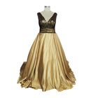 7395161ce0a4c Real Sample Gold Evening Dress Plus Size Prom Gowns For Fat Women Pakistani  Formal Dresses