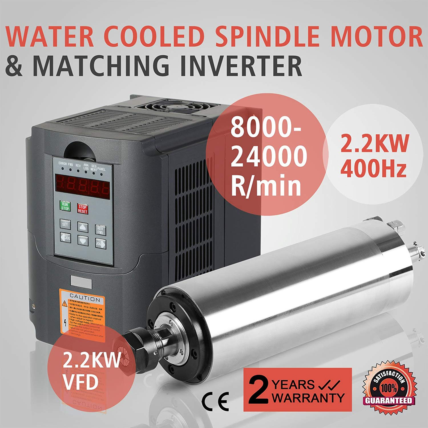 CNCShop Spindle Motor CNC Spindle Motor 2.2KW and VFD Drive 2.2KW 3HP Variable Frequency Drive inverter (2.2KW VFD + 2.2KW Water Cooled Spindle Motor)