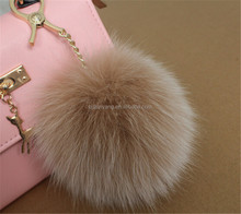 2016 custom Luxury plush Fox Fur Ball Keyring Bag Charm fluffy ball keychain